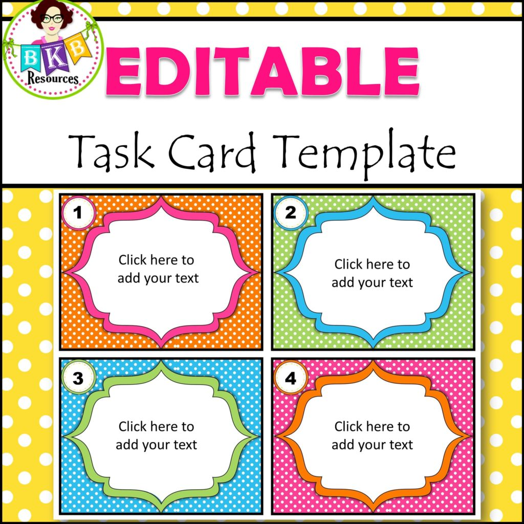 Editable Task Card Templates Bkb Resources