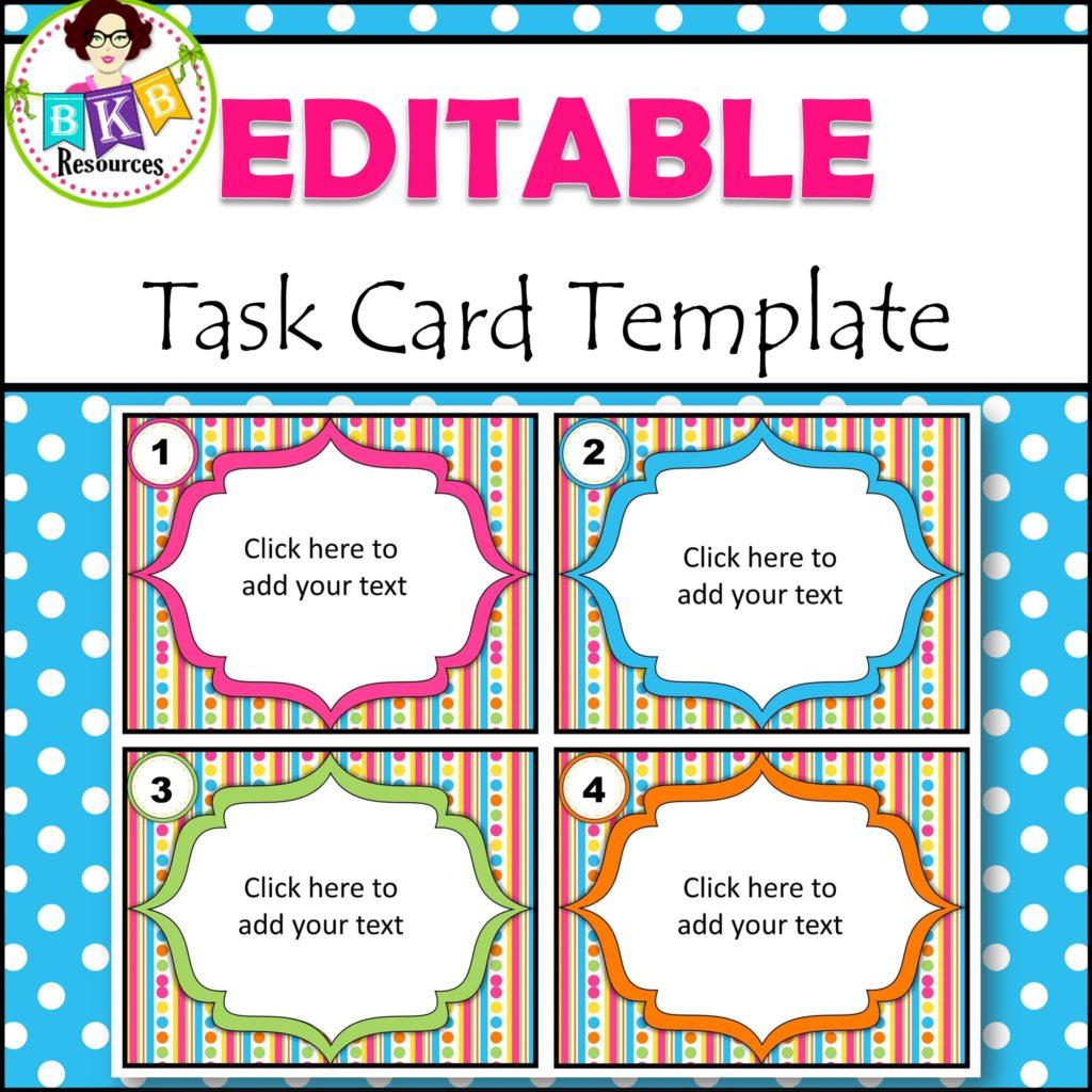 editable task card templates bkb resources. Black Bedroom Furniture Sets. Home Design Ideas