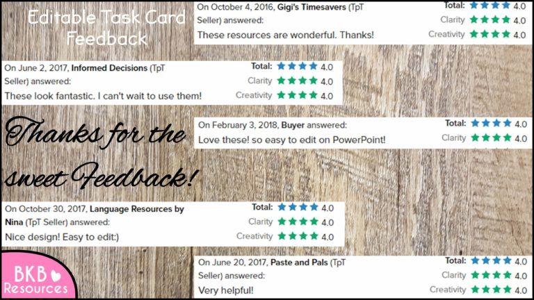 Editable Task Card Templates | BKB Resources
