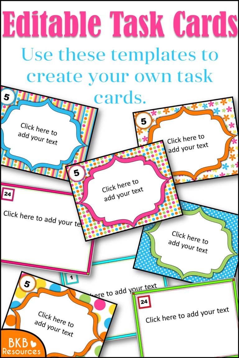 Stupendous image for printable task cards